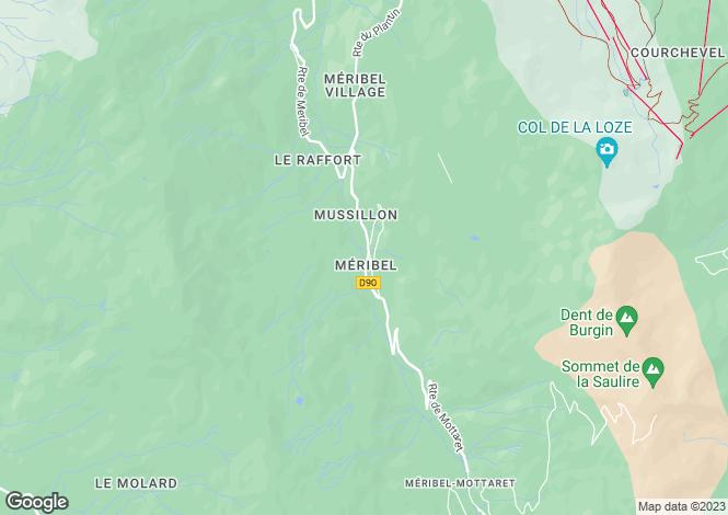 Map for Rhone Alps, Savoie, Méribel