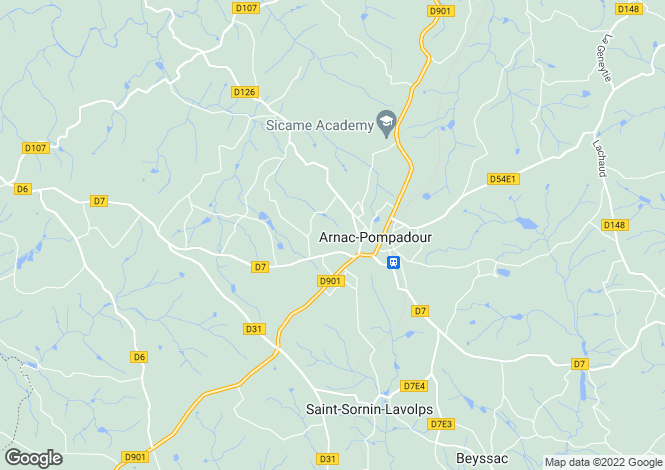 Map for Arnac-Pompadour, Limousin, France