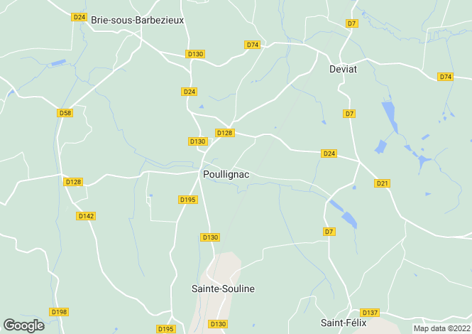 Map for poullignac, Charente, France