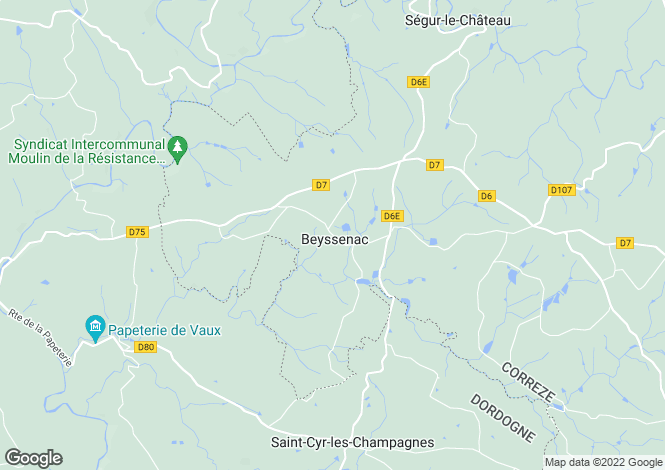 Map for Limousin, Corrèze, Beyssenac