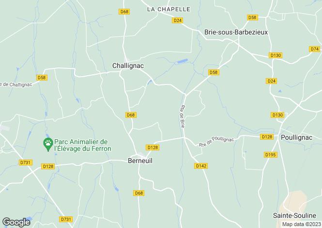 Map for Brossac, Charente, Poitou-Charentes