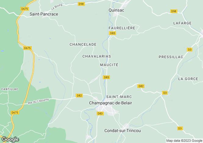 Map for Aquitaine, Dordogne, Champagnac-de-Belair