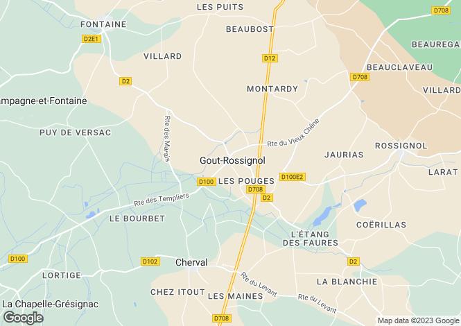Map for Aquitaine, Dordogne, Gout-Rossignol