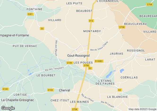 Map for Gout-Rossignol, Dordogne, 24320, France