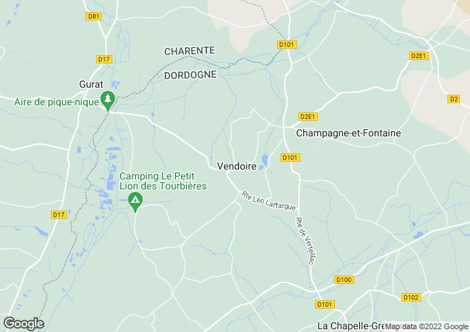 Map for Aquitaine, Dordogne, Vendoire
