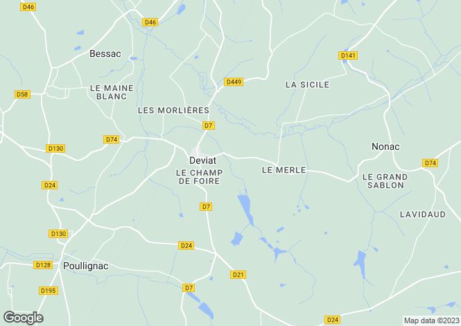 Map for deviat, Charente, France