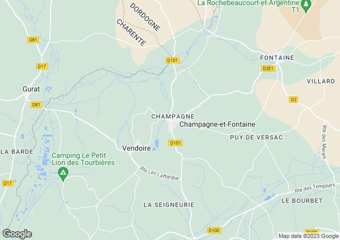 Map for champagne-et-fontaine, Dordogne, France