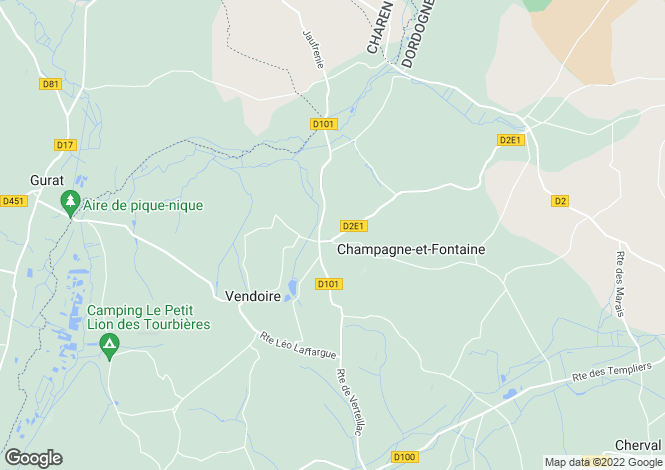 Map for Secteur: Champagne Fontaines, Dordogne.