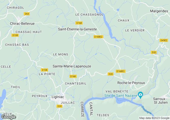 Map for SAINTE MARIE LAPANOUZE, Limousin