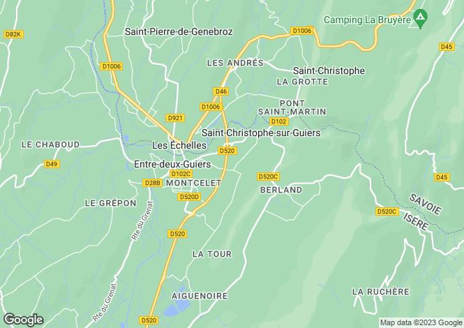 Map for Rhone Alps, Isère, St-Christophe-sur-Guiers