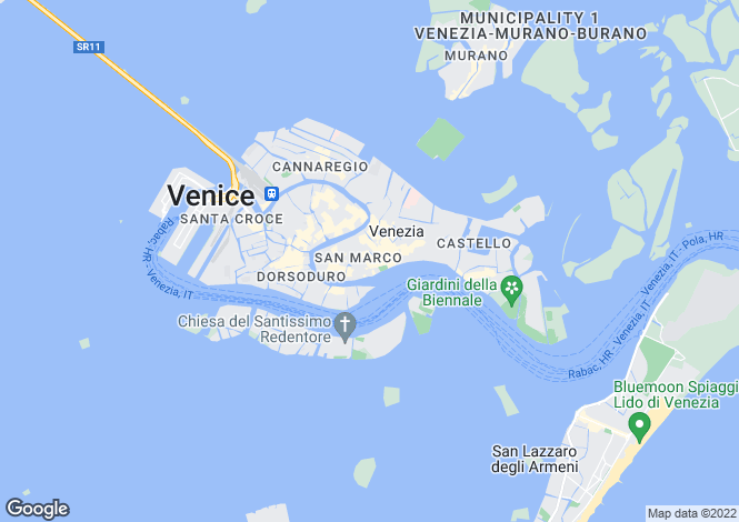 Map for Venetian Palace, San Marco, Venice, Italy