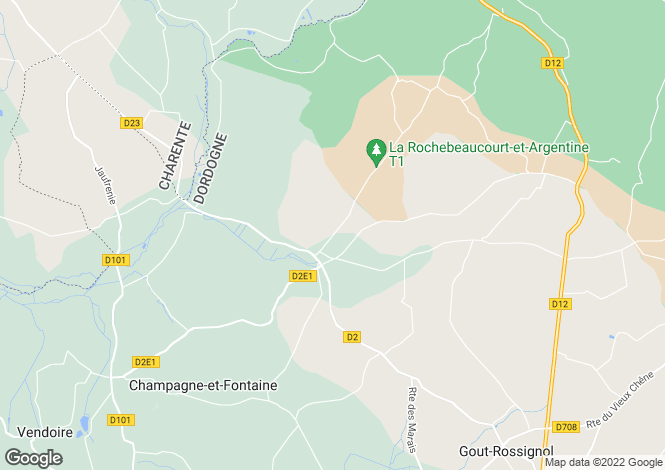 Map for Secteur: Champagne Fontaines, Dordogne