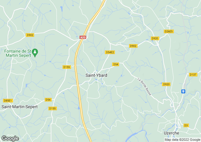 Map for st-ybard, Corrèze, France