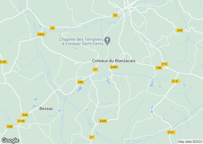 Map for cressac-st-genis, Charente, France