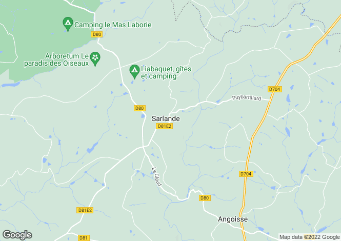 Map for Sarlande, Aquitaine, France