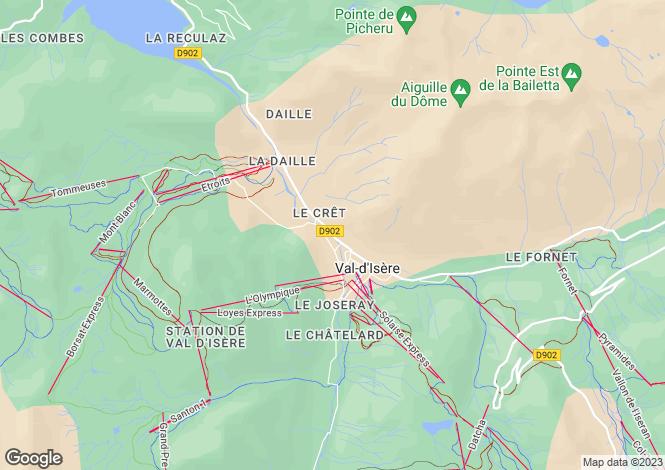 Map for Val-d`Isère, Savoie, Rhone Alps
