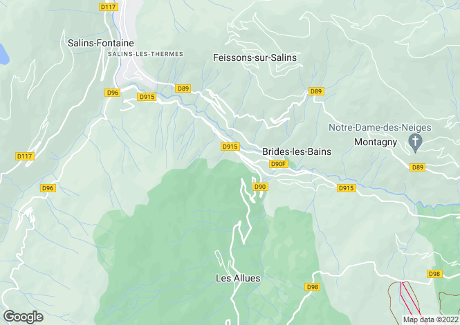 Map for Rhone Alps, Savoie, Brides-les-Bains