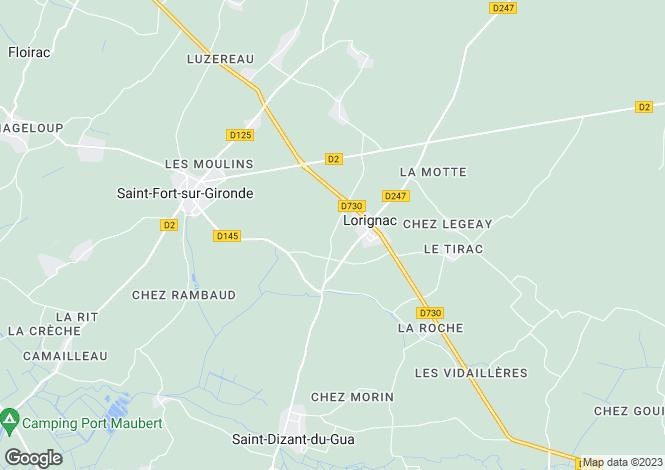 Map for lorignac, Charente-Maritime, France