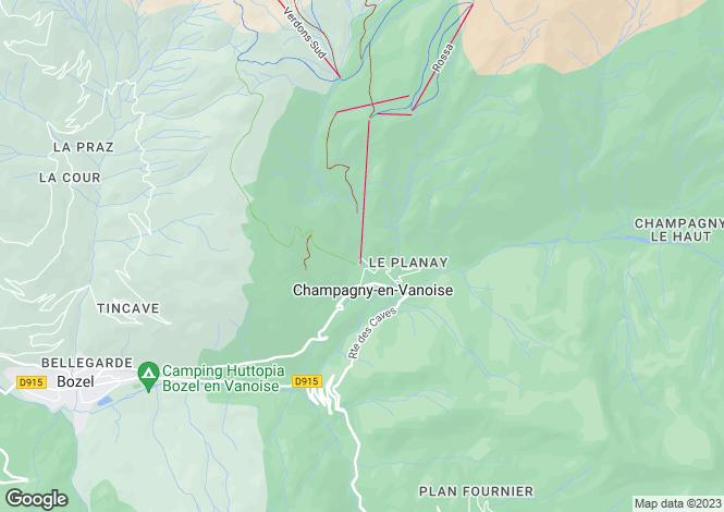 Map for Champagny-en-Vanoise, Savoie, Rhone Alps