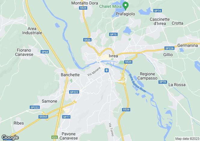 Map for Piedmont, Turin, Ivrea