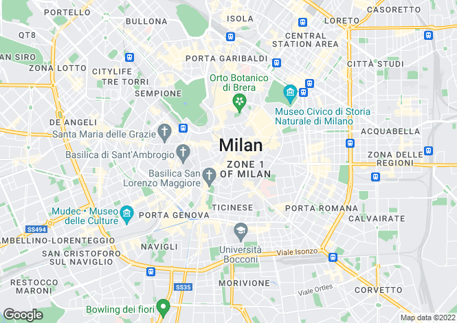 Map for Lombardy, Milan, Milano