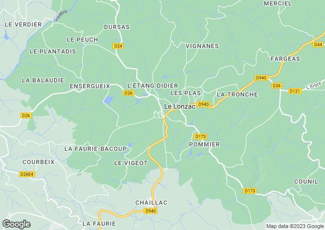 Map for Limousin, Corrèze, Le Lonzac