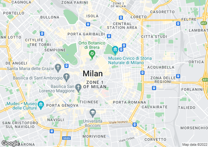Map for Milano, Milan, Lombardy