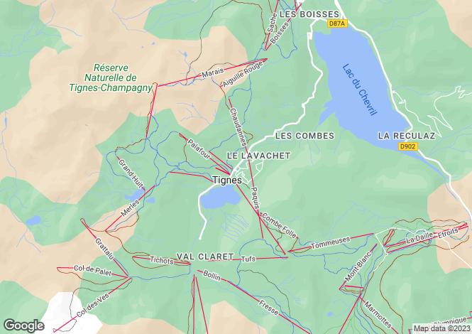 Map for Rhone Alps, Savoie, Tignes