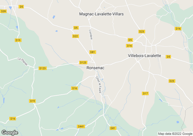 Map for ronsenac, Charente, France