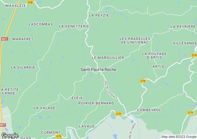 Map for Secteur: Saint-Paul-La-Roche, Dordogne