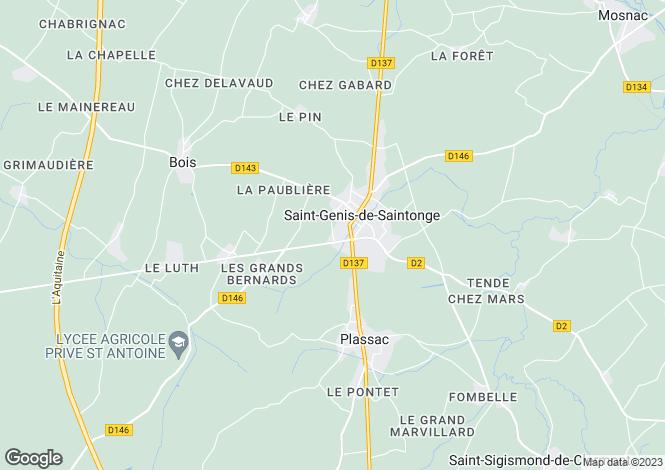 Map for st-genis-de-saintonge, Charente-Maritime, France