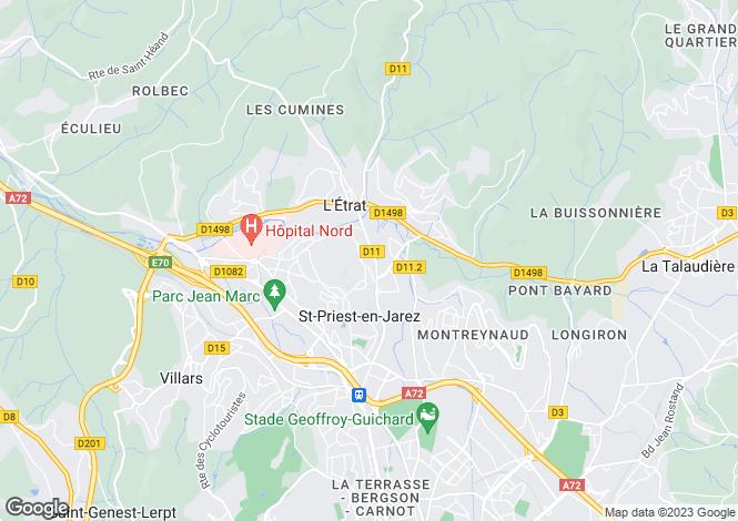 Map for letrat, Loire, France