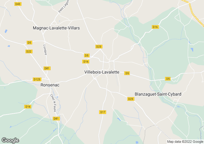 Map for Secteur: Villebois Lavalette, Charente