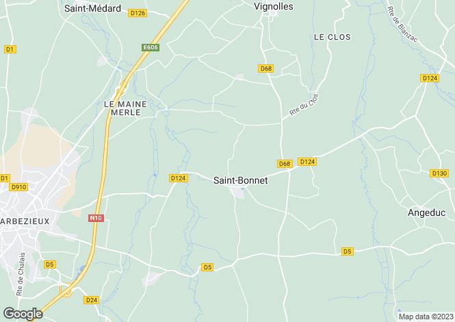 Map for Poitou-Charentes, Charente, St-Bonnet