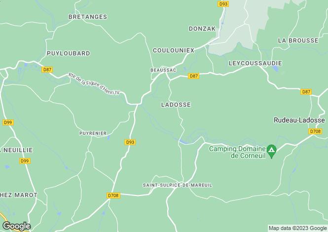 Map for rudeau-ladosse, Dordogne, France