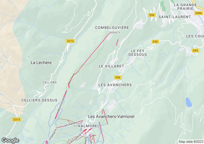 Map for Les Avanchers-Valmorel, Savoie, Rhone Alps