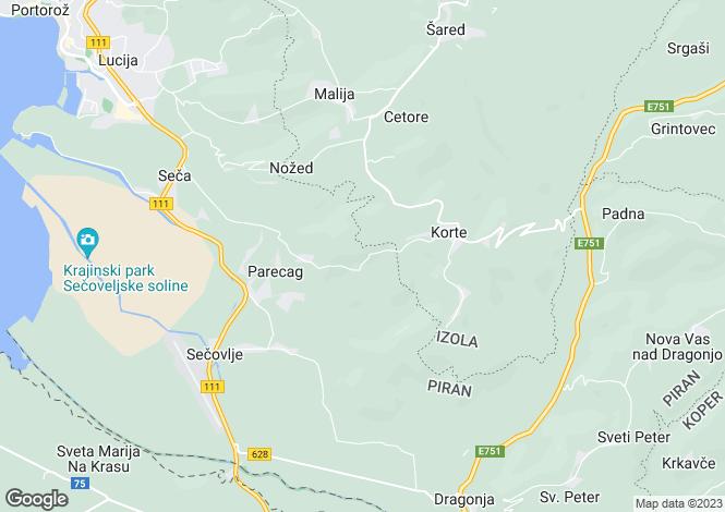 Map for Piran, Portoroz