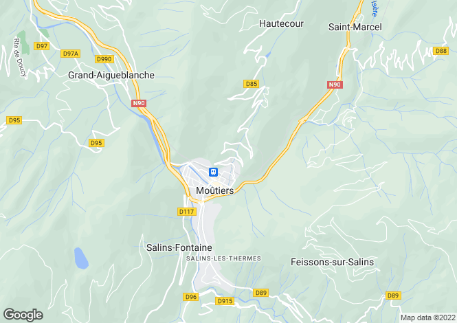 Map for moutiers, Savoie, France