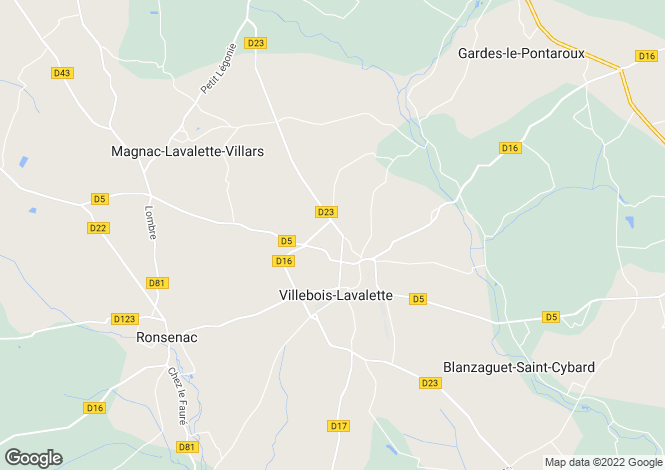 Map for villebois-lavalette, Charente, France