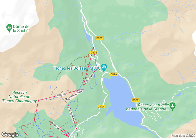 Map for Tignes, Savoie, Rhone Alps