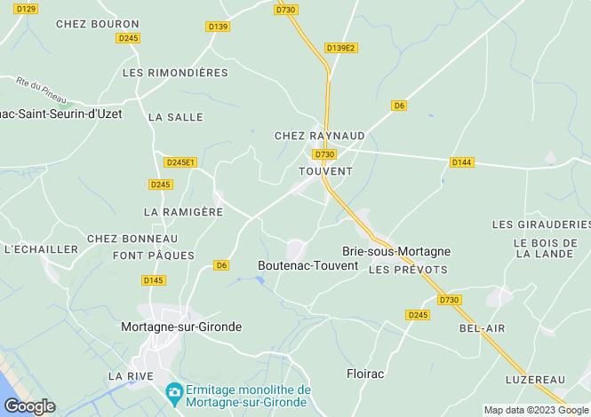 Map for Poitou-Charentes, Charente-Maritime, Boutenac-Touvent