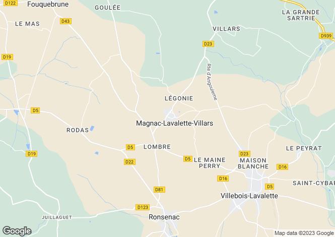 Map for Poitou-Charentes, Charente, Magnac-Lavalette-Villars