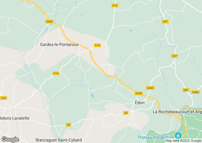 Map for gardes-le-pontaroux, Charente, France
