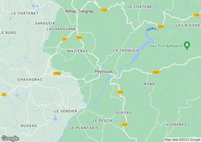 Map for Limousin, Corrèze, Peyrissac
