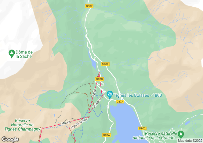 Map for Rhone Alps, Savoie, Tignes