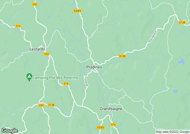Map for Pradines, Corrèze, Limousin