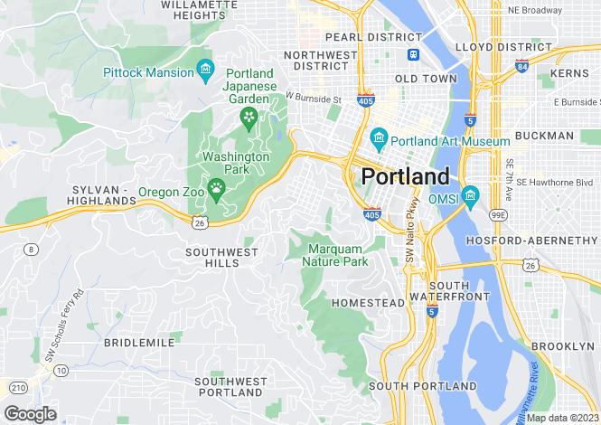 Map for USA - Oregon, Multnomah County, Portland
