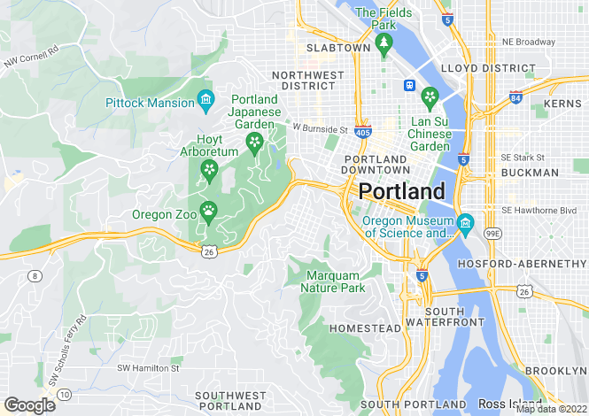 Map for USA - Oregon, Multnomah County, Portland