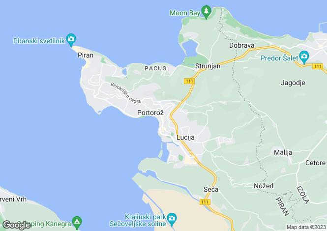 Map for Portoroz, Piran, Slovenia