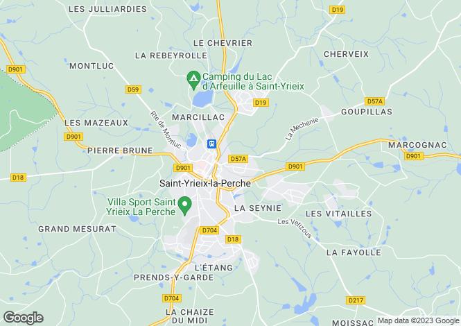 Map for St Yrieix La Perche, Limousin, France